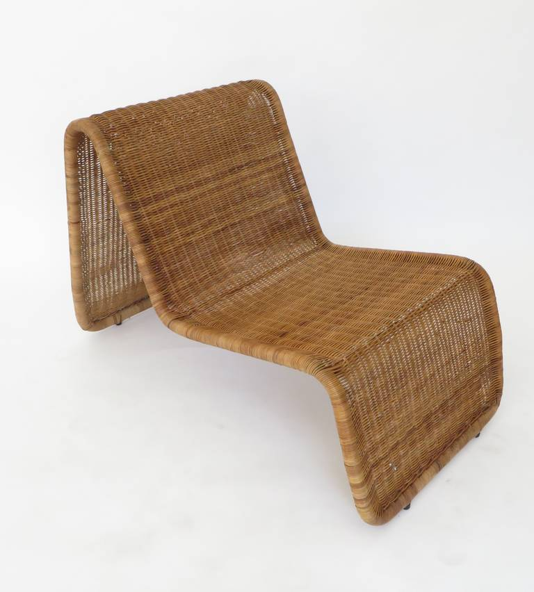 Mid-Century Modern Pair of Tito Agnoli Wicker or Cane Sculptural Lounge Chairs