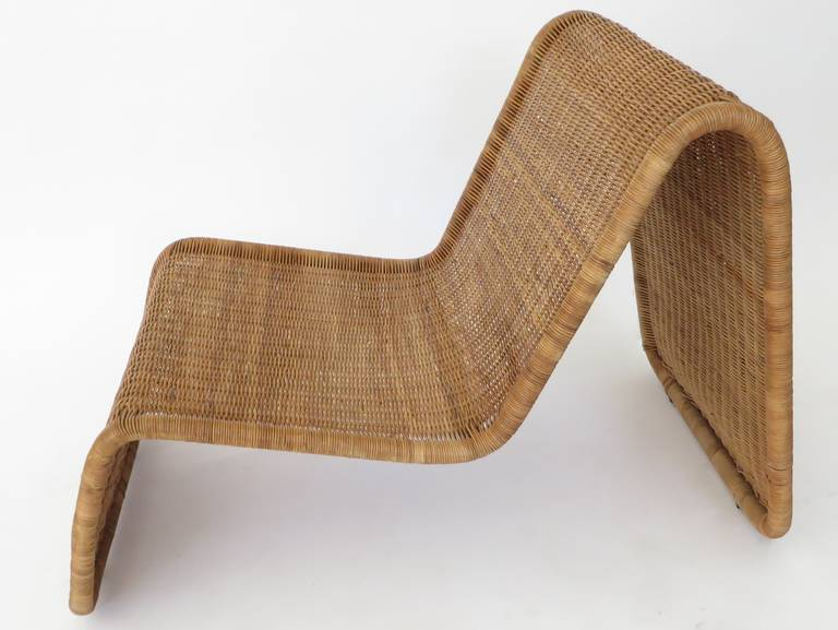 Pair of Tito Agnoli Wicker or Cane Sculptural Lounge Chairs