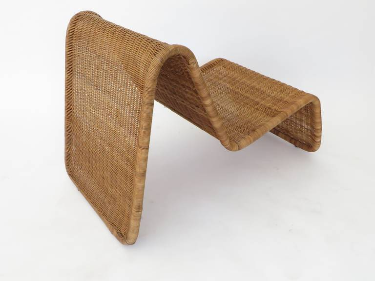 Mid-20th Century Pair of Tito Agnoli Wicker or Cane Sculptural Lounge Chairs