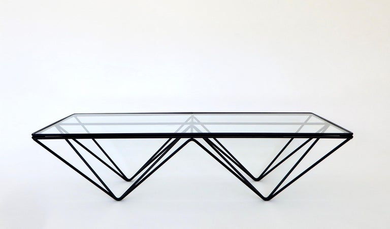 Mid-Century Modern Black Steel and Glass Coffee Table in The Style of Paolo Piva Alanda Table  For Sale