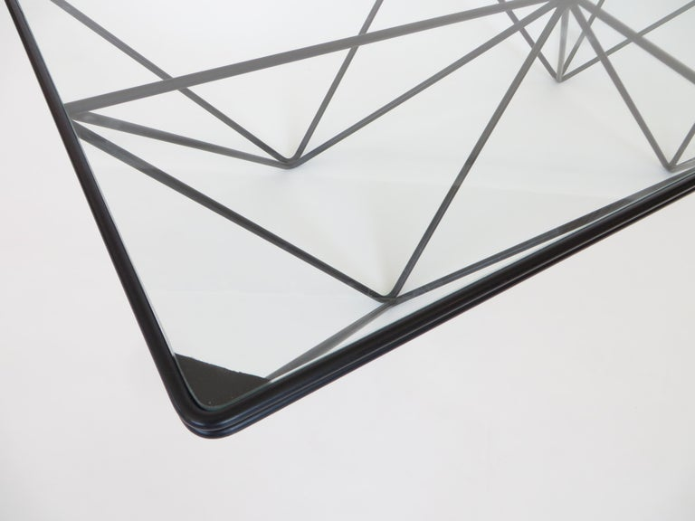 Black Steel and Glass Coffee Table in The Style of Paolo Piva Alanda Table  For Sale 5