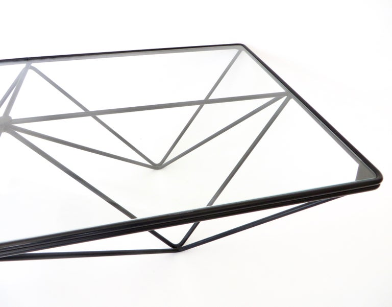 Black Steel and Glass Coffee Table in The Style of Paolo Piva Alanda Table  For Sale 8