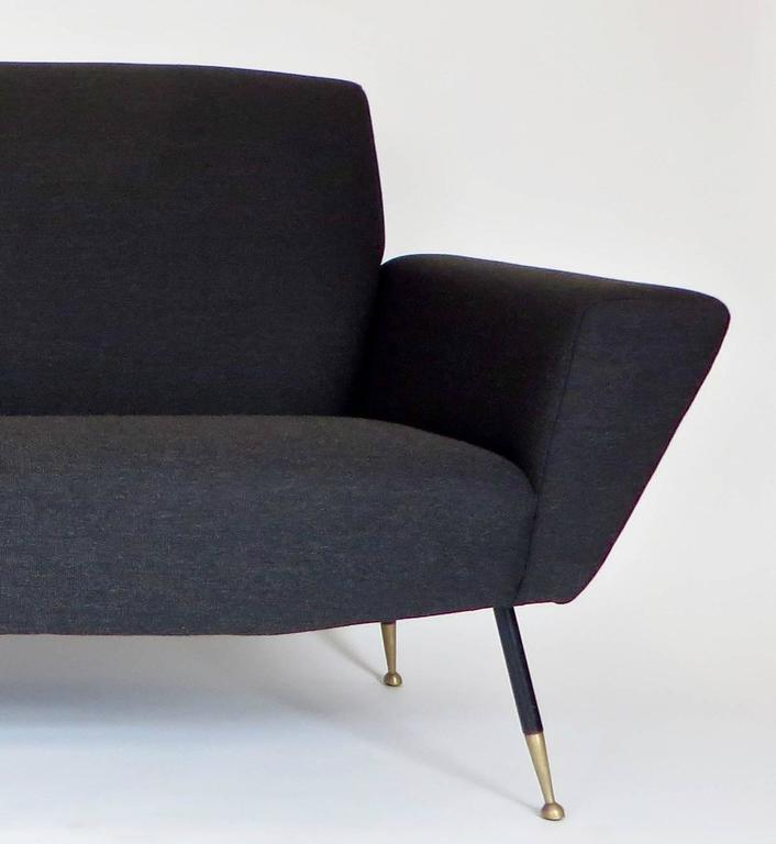 Upholstery Italian Midcentury circa 1950s Settee with Iconic Black and Brass Legs For Sale