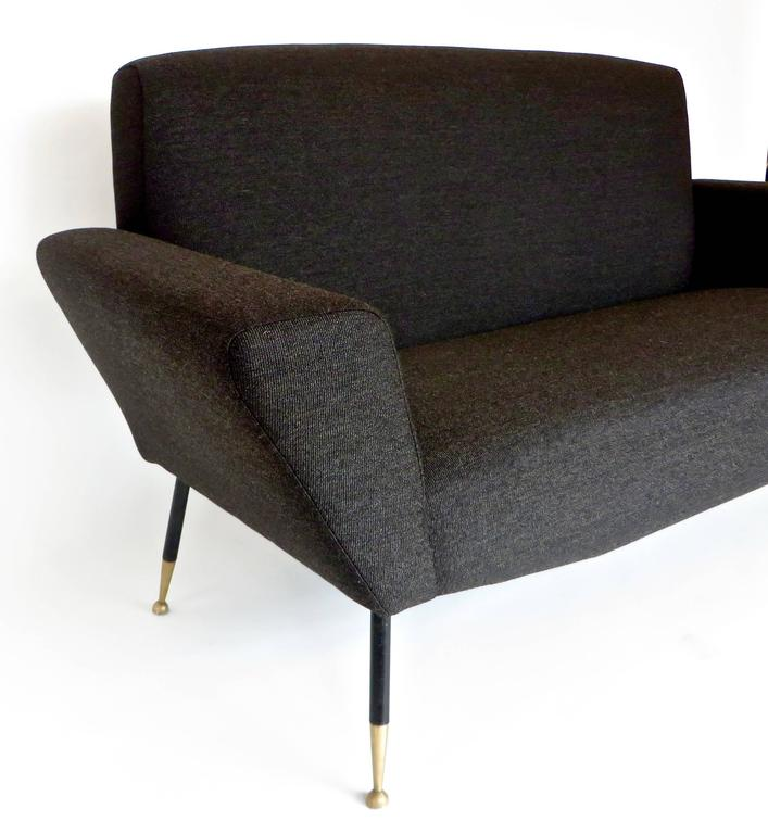 Italian Midcentury circa 1950s Settee with Iconic Black and Brass Legs For Sale 1