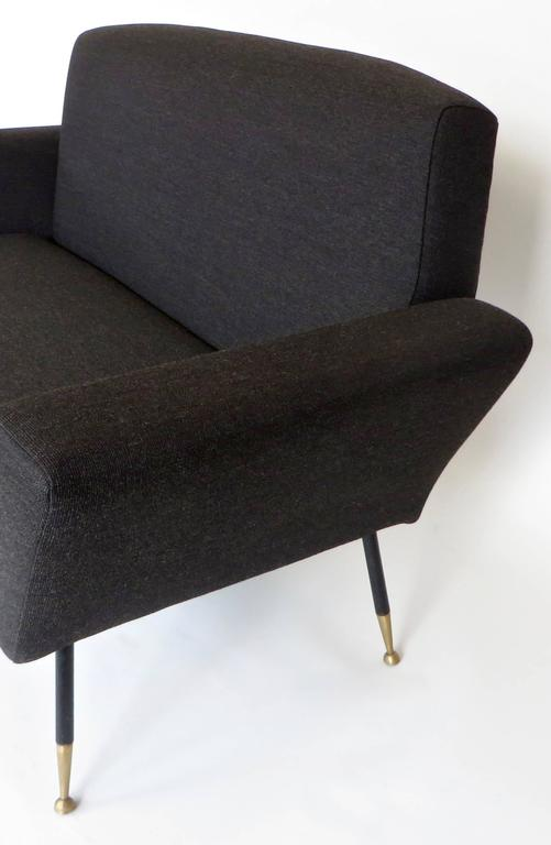 Mid-20th Century Italian Midcentury circa 1950s Settee with Iconic Black and Brass Legs For Sale