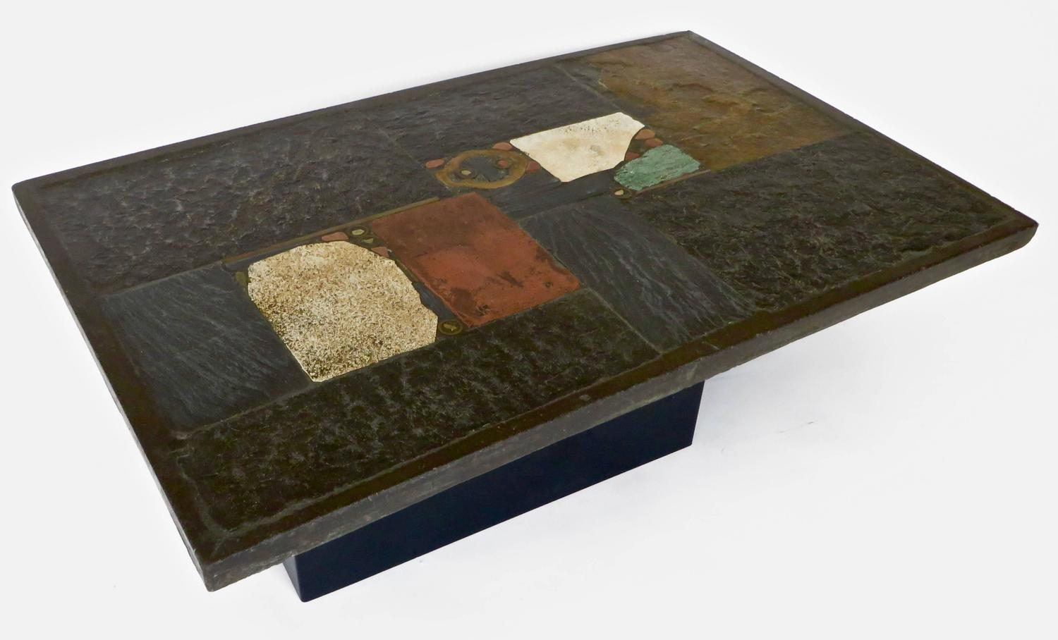 Mosaic Stone And Slate Coffee Table By Dutch Artist Paul Kingma 1974 At 1stdibs