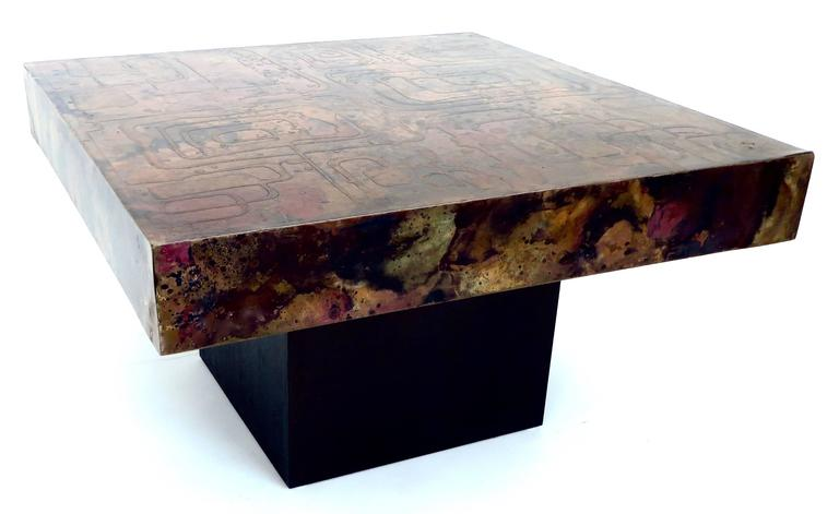 Blackened Belgian Coffee or Side Table with Etched, Patinated Copper Top, circa 1970 For Sale