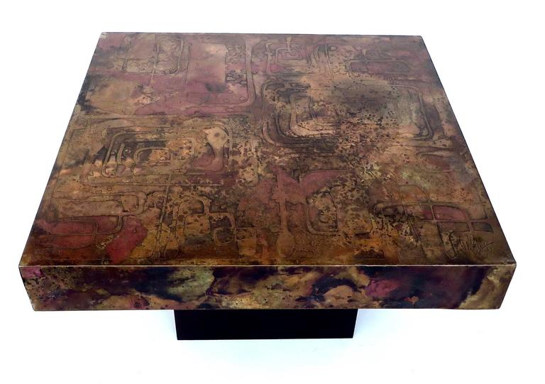 Belgian Coffee or Side Table with Etched, Patinated Copper Top, circa 1970 In Excellent Condition For Sale In Chicago, IL