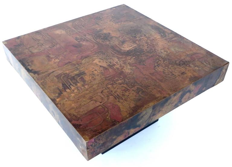 Late 20th Century Belgian Coffee or Side Table with Etched, Patinated Copper Top, circa 1970 For Sale