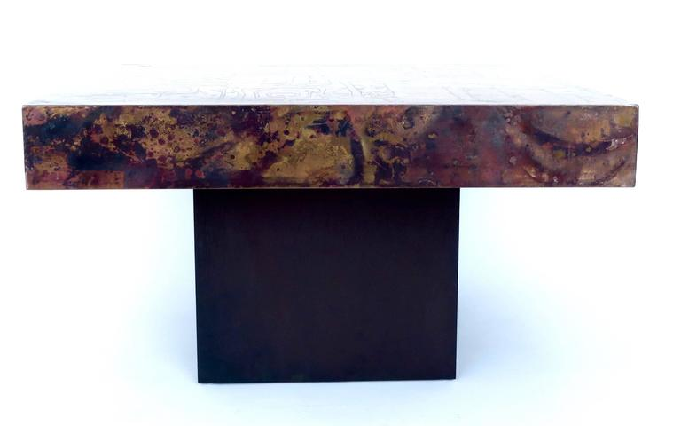 Mid-Century Modern Belgian Coffee or Side Table with Etched, Patinated Copper Top, circa 1970 For Sale