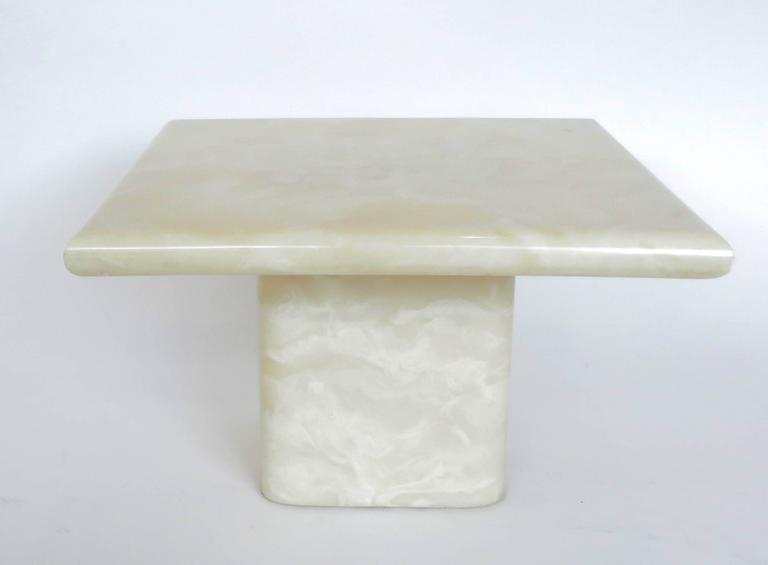 Pair of Cream Ivory Cultured Marble Low Side or Coffee Tables For Sale 1
