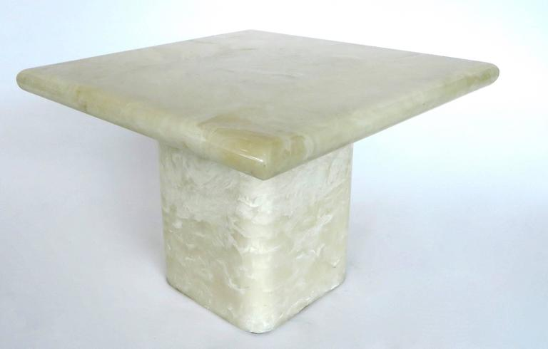 Pair of Cream Ivory Cultured Marble Low Side or Coffee Tables For Sale 2
