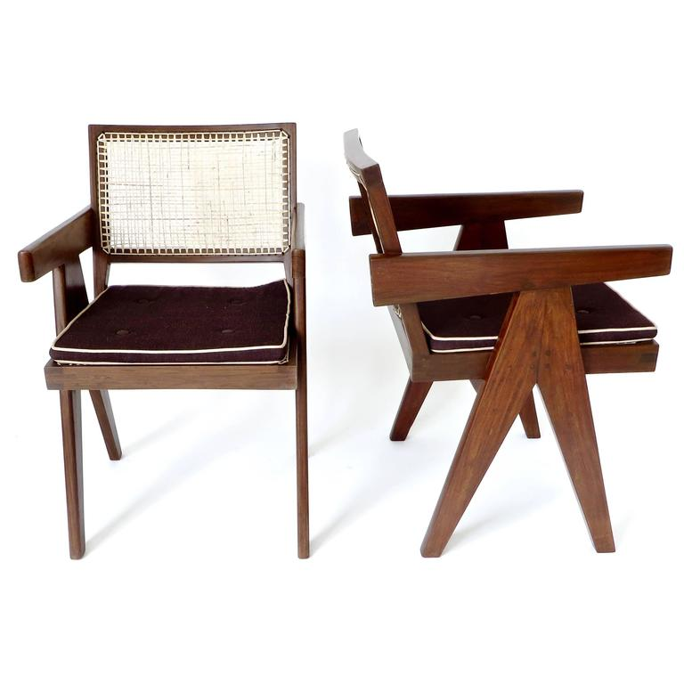 Pair of office dining armchairs by pierre jeanneret from