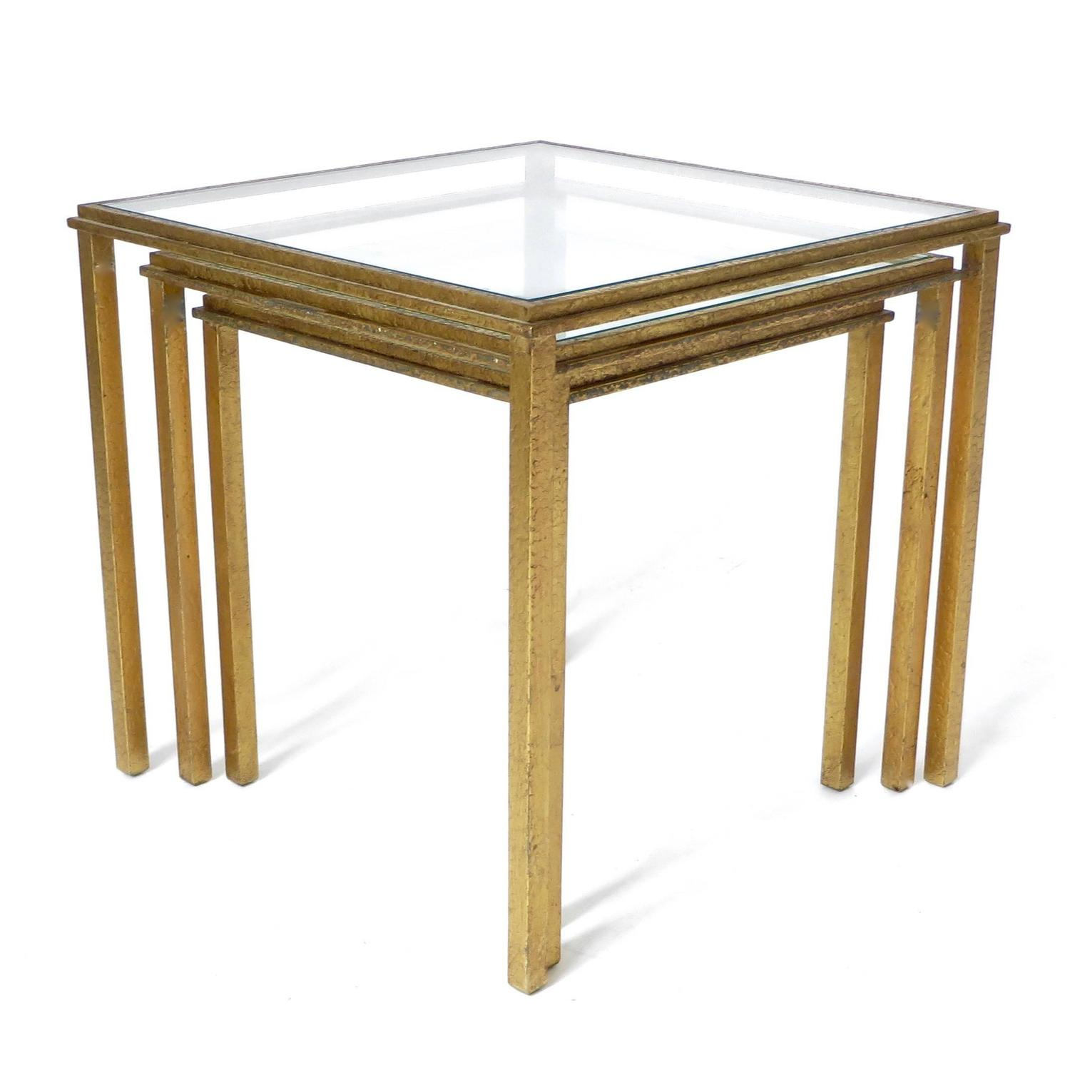 Gold Nesting Tables ~ Set of three french gold leaf iron nesting tables by roger