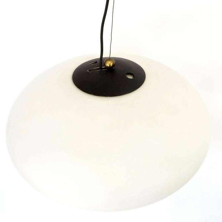 Lacquered Italian Vintage Blown Opaque Glass Pendant Light by Stilnovo Circa 1960 For Sale