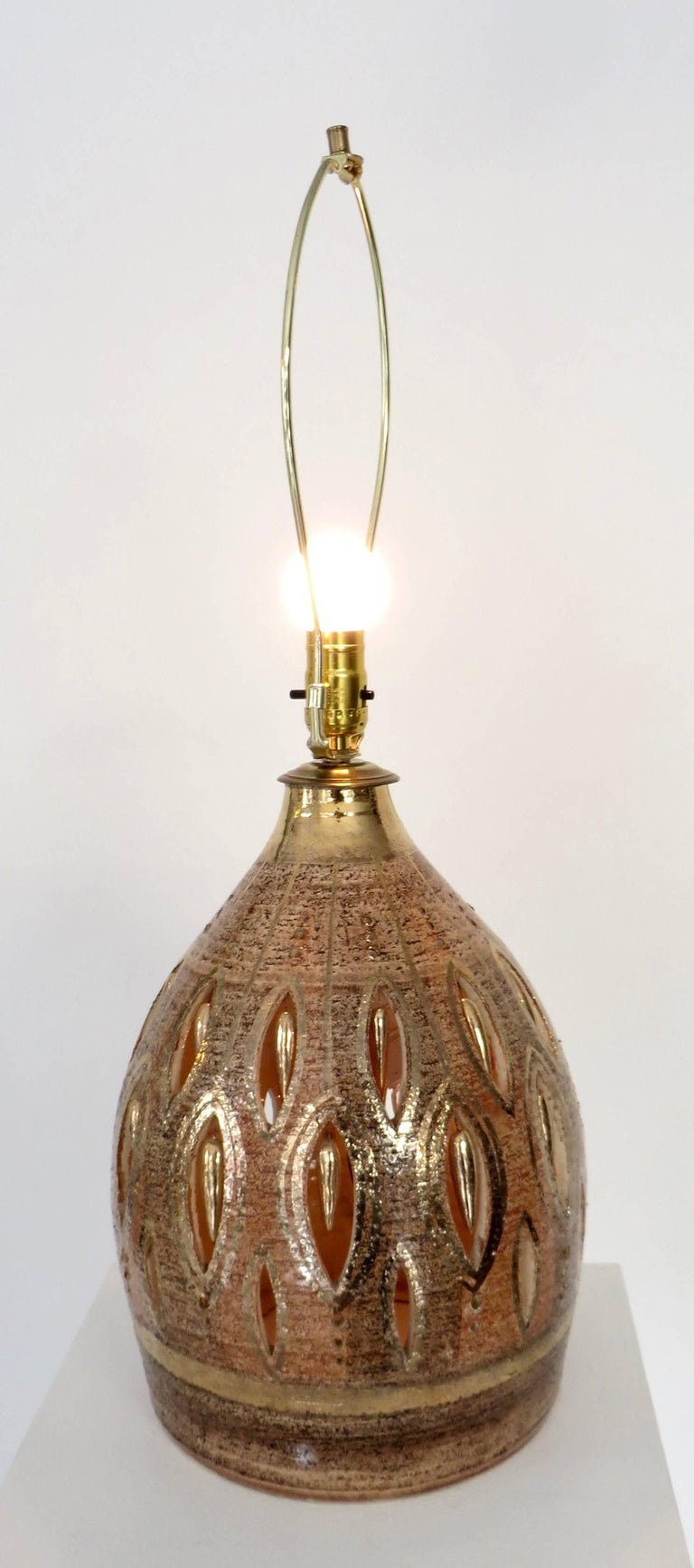 Late 20th Century French Glazed and Incised Ceramic Table Lamp by Artist Georges Pelletier  For Sale