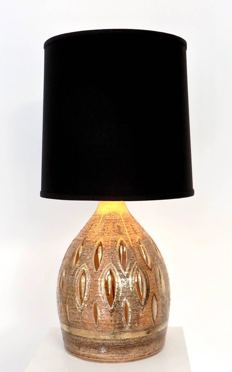 French Glazed and Incised Ceramic Table Lamp by Artist Georges Pelletier  6