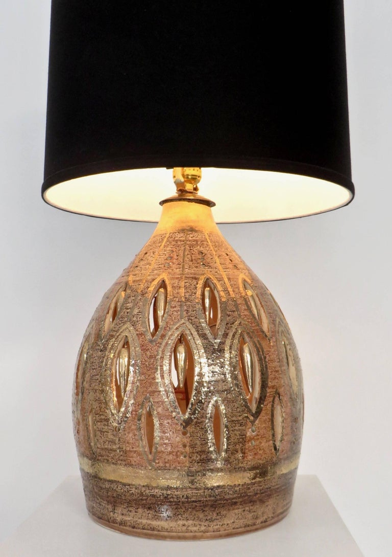 French Glazed and Incised Ceramic Table Lamp by Artist Georges Pelletier  For Sale 2