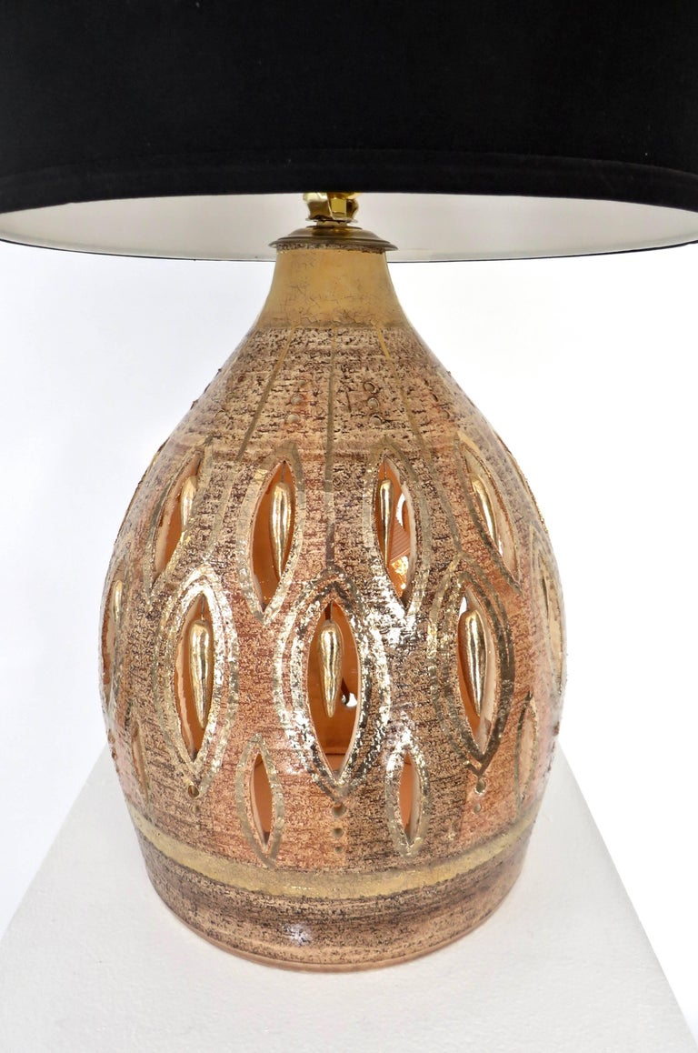 French Glazed and Incised Ceramic Table Lamp by Artist Georges Pelletier  8