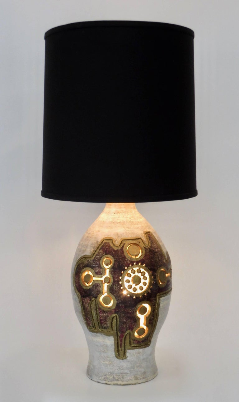 French Glazed and Incised Ceramic Table Lamp by Artist Georges Pelletier 2