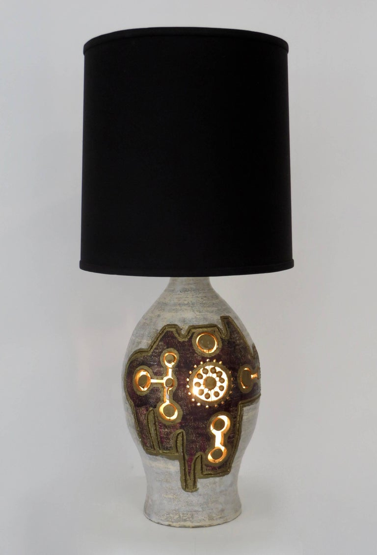 French Glazed and Incised Ceramic Table Lamp by Artist Georges Pelletier 3