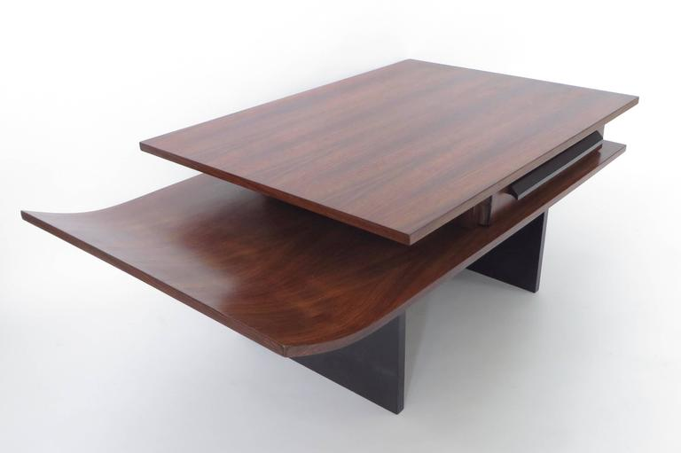 Italian Two-Level Rosewood Coffee Table with One Drawer on Black Laminate Base For Sale 1