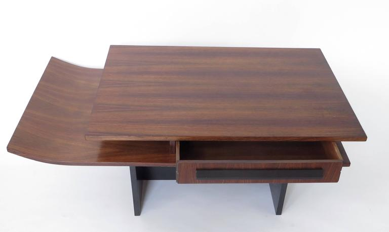 Mid-Century Modern Italian Two-Level Rosewood Coffee Table with One Drawer on Black Laminate Base For Sale