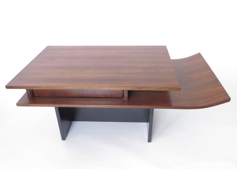 Italian Two-Level Rosewood Coffee Table with One Drawer on Black Laminate Base In Excellent Condition For Sale In Chicago, IL