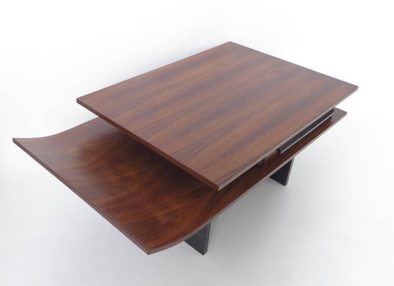 Italian Two-Level Rosewood Coffee Table with One Drawer on Black Laminate Base For Sale 2