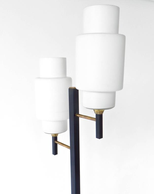 French Floor Lamp by Maison Lunel with Two Opaline Glass Shades 4