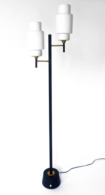 French Floor Lamp by Maison Lunel with Two Opaline Glass Shades 2