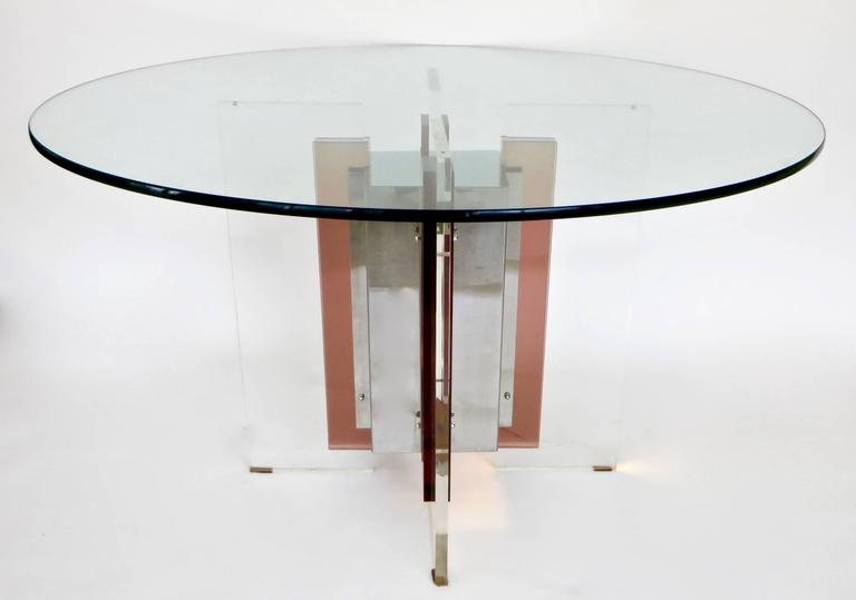 Philippe Jean French Illuminated Stainless Steel and Lucite Dining Table Signed For Sale 4
