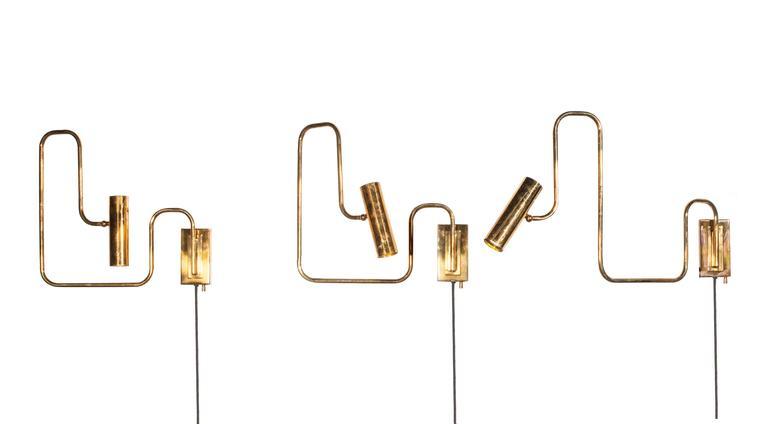 Modern Brass Handmade Pivot Light Wall Sconce Designed by Christopher Gentner For Sale