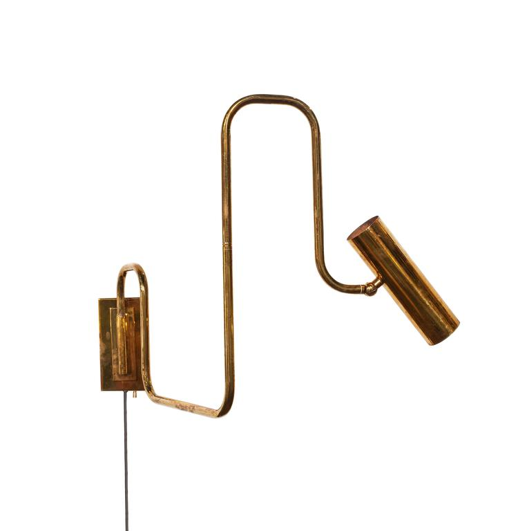 Brass Handmade Pivot Light Wall Sconce Designed by Christopher Gentner In Excellent Condition For Sale In Chicago, IL