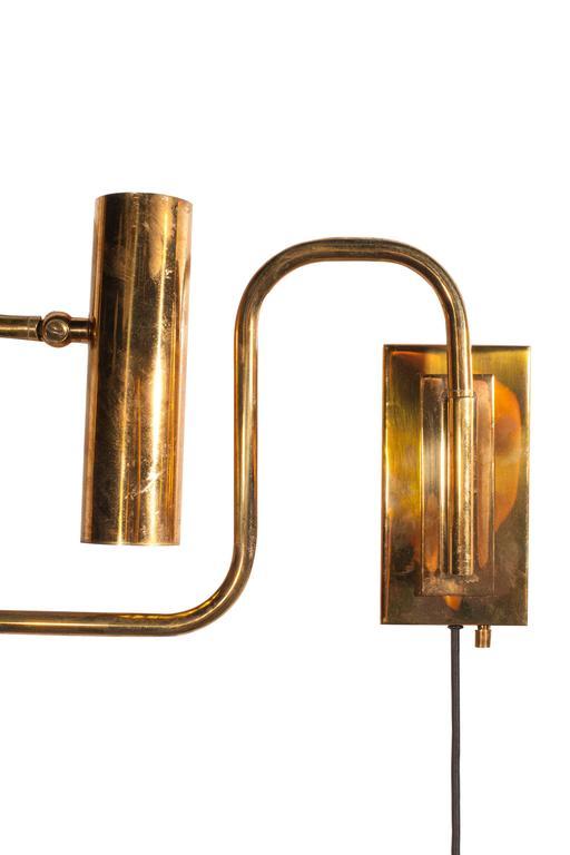 Brass Handmade Pivot Light Wall Sconce Designed by Christopher Gentner For Sale 2