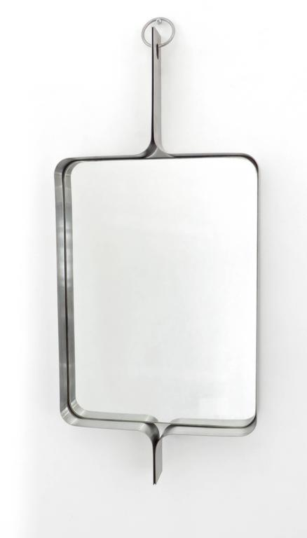 Xavier-Feal French Rectangular Brushed Stainless Steel Wall Mirror, circa 1970 5