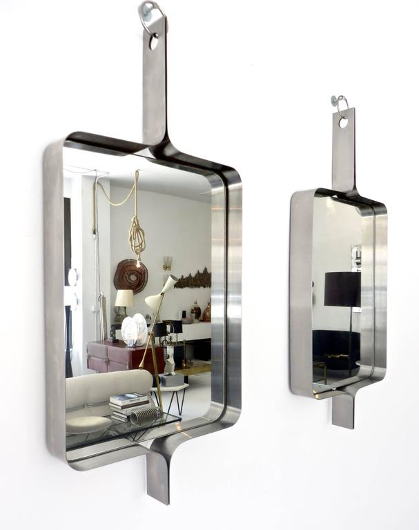 Xavier-Feal French Rectangular Brushed Stainless Steel Wall Mirror, circa 1970 7