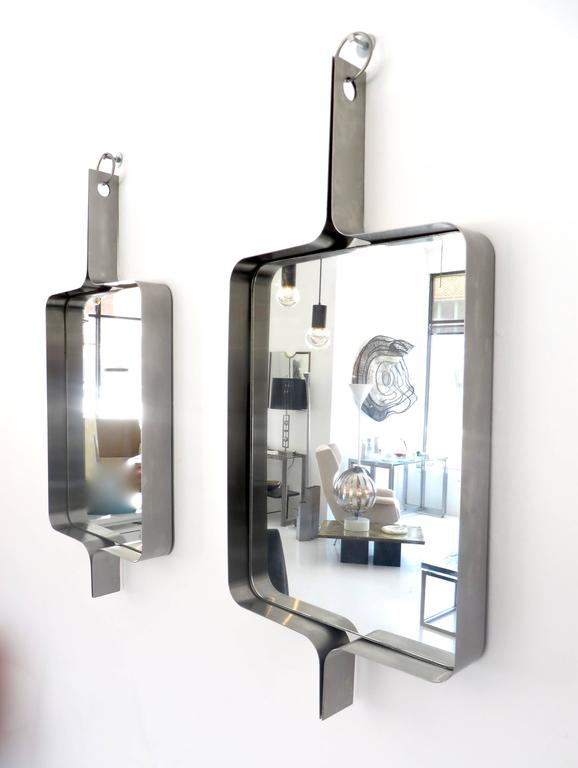 Xavier-Feal French Rectangular Brushed Stainless Steel Wall Mirror, circa 1970 8