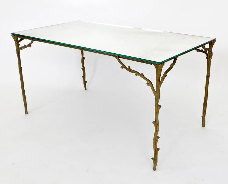 Late 20th Century French Bronze Legged Organic Coffee Table by Maison Bagues For Sale