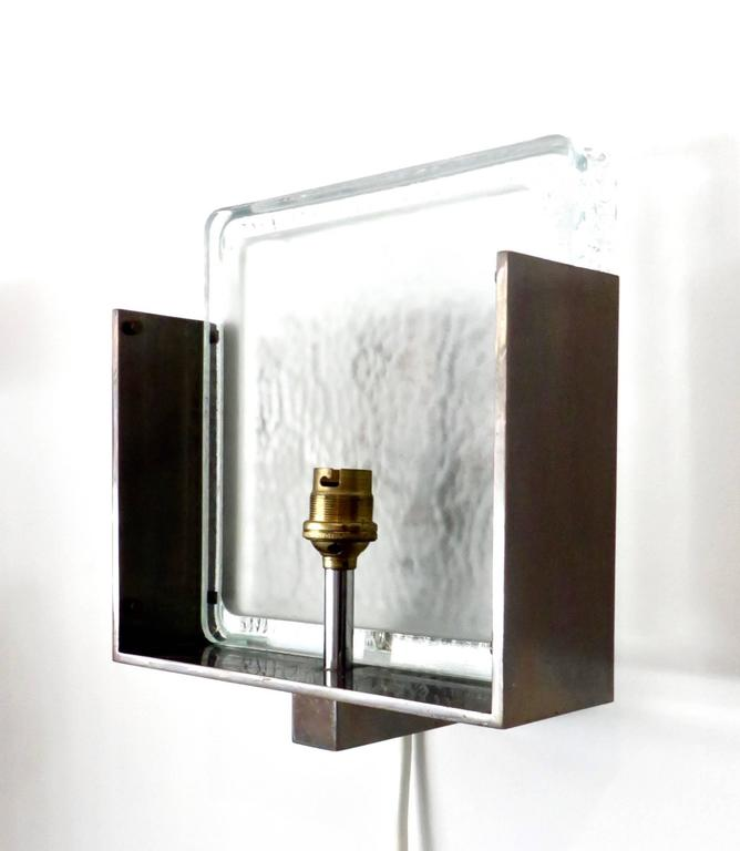 French st gobain pebbled opaque glass and bronze sconces for Atelier st jean chaise bercante