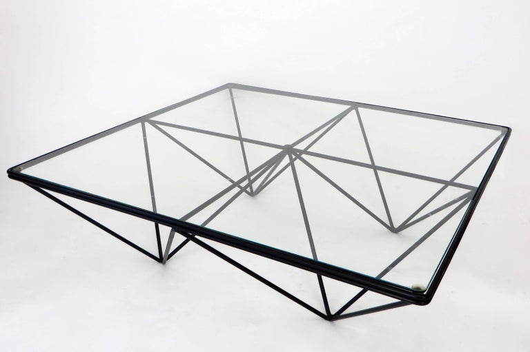 Late 20th Century Italian Square Black Alanda Coffee Table by Paolo Piva with Glass Top B&B Italia For Sale