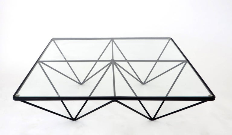 Minimalist Italian Square Black Alanda Coffee Table by Paolo Piva with Glass Top B&B Italia For Sale
