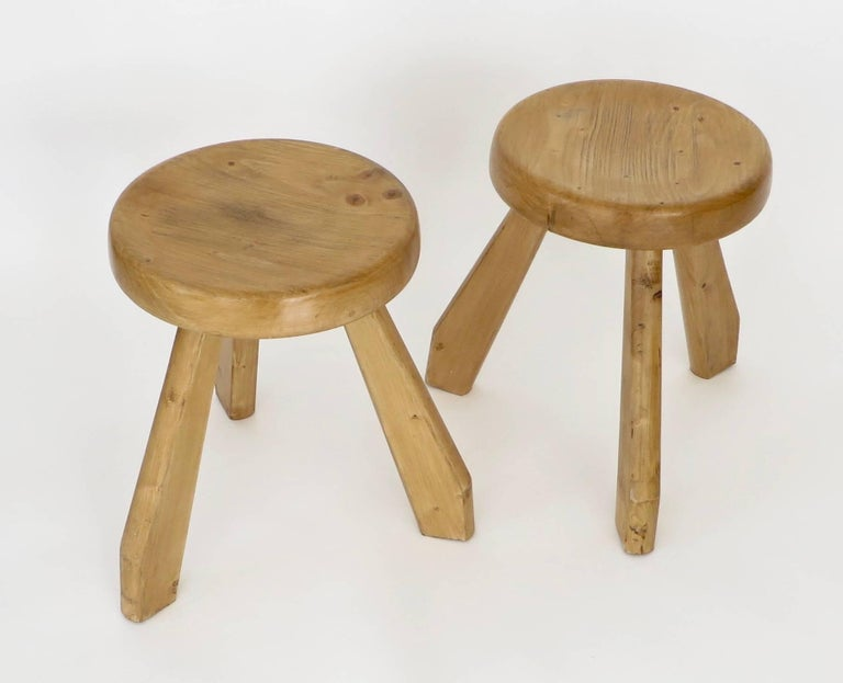Pair of Sandoz Stools for Les Arcs Ski Resort Charlotte Perriand, France 4