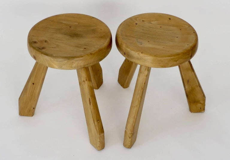 Pair of Sandoz Stools for Les Arcs Ski Resort Charlotte Perriand, France 3