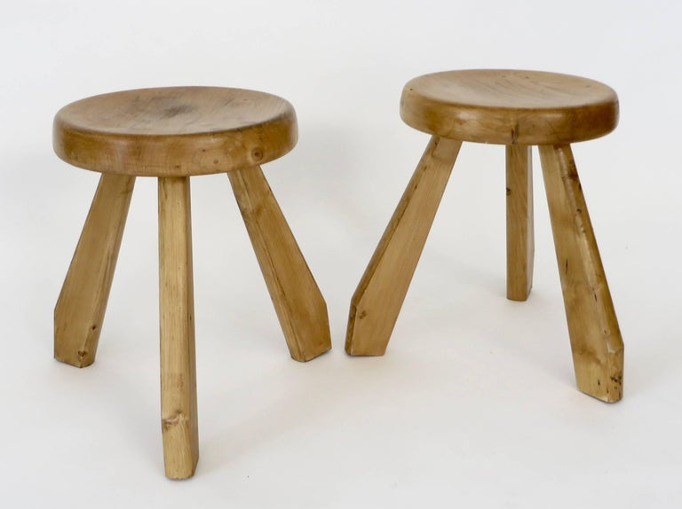 Pair of Sandoz Stools for Les Arcs Ski Resort Charlotte Perriand, France 2