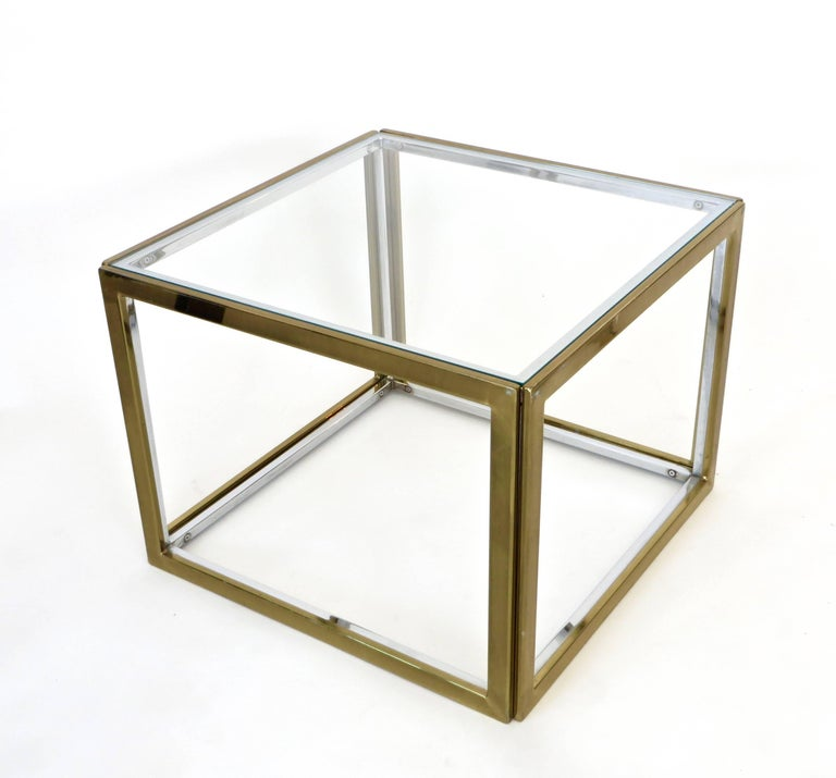 Mid-Century Modern Pair of French Brass and Chrome Side Tables by Maison Charles et Fils circa 1970 For Sale