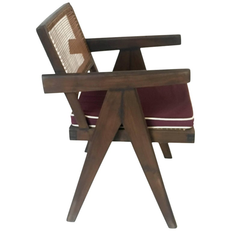 Teak Office Cane Chair Armchair by Pierre Jeanneret from Chandigarh For Sale