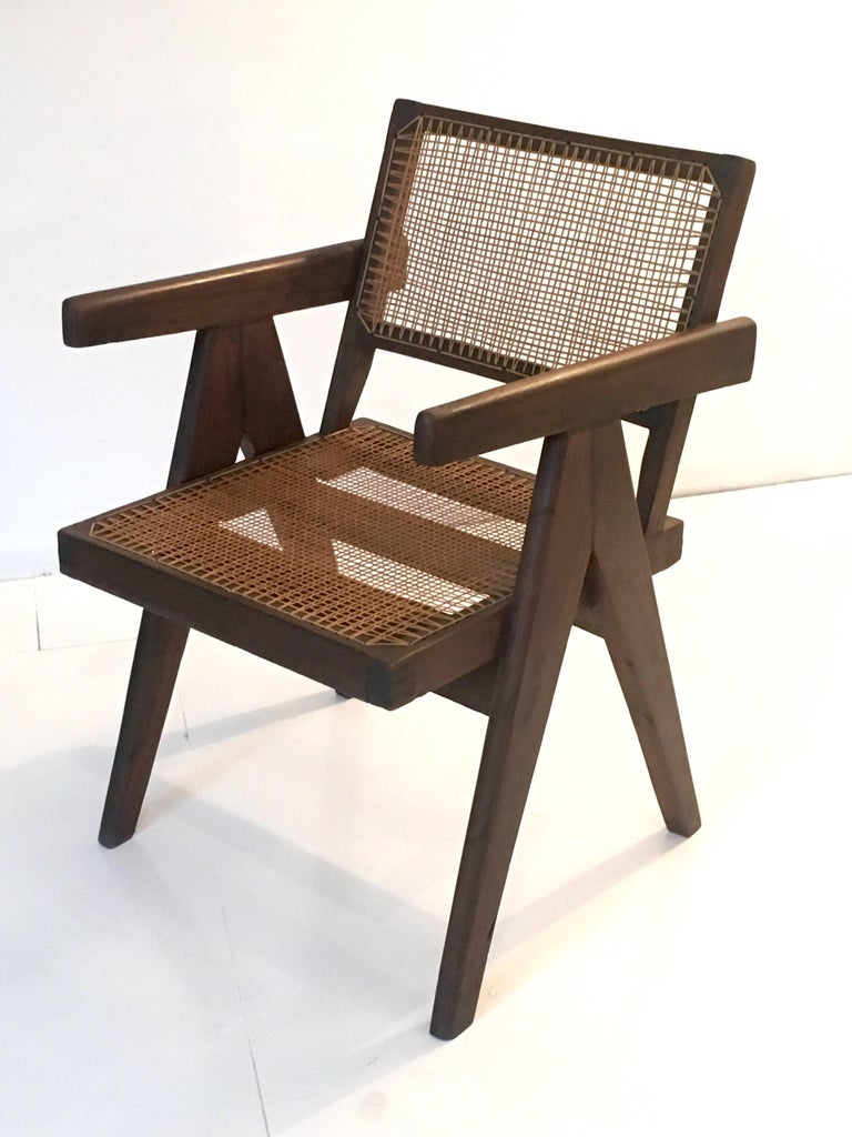 Indian Teak Office Cane Chair Armchair by Pierre Jeanneret from Chandigarh For Sale