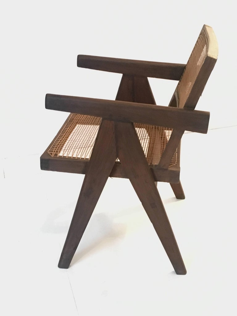 Teak Office Cane Chair Armchair by Pierre Jeanneret from Chandigarh In Excellent Condition For Sale In Chicago, IL