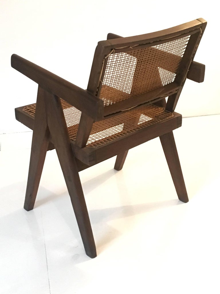Mid-20th Century Teak Office Cane Chair Armchair by Pierre Jeanneret from Chandigarh For Sale